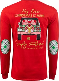 Simply Southern Women's Hey Deer Christmas Long Sleeve T-shirt