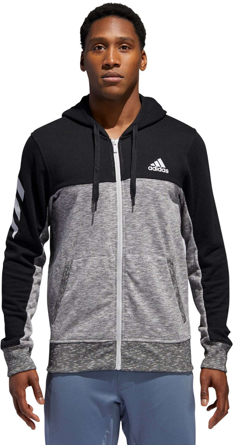 Adidas Men's Pick Up Full Zip Shooter Hoodie (Black/LGH Solid Gray, Size Small) - Men's Athletic Apparel, Men's Athletic Jackets at Academy Sports thumbnail