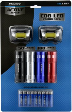 COB Flashlight and Headlamp Combo 6-Pack