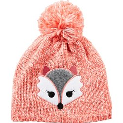Girls' Sequin Fox Critter Beanie
