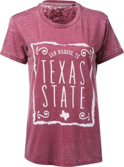 Three Squared Women's Texas State University Ruffy Vintage Wash Boyfriend T-shirt