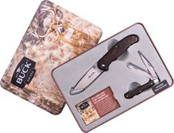 Buck Knives Wood Handle Holiday Tin Set