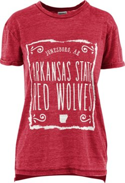 Three Squared Women's Arkansas State University Ruffy Vintage Wash Boyfriend T-shirt