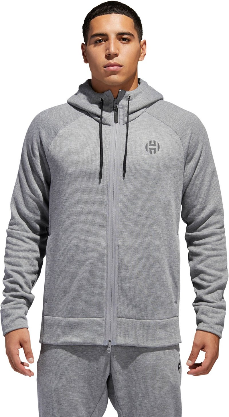Adidas Men's Harden Commercial Shooter Full Zip Hoodie (Gray Three F17, Size Small) - Men's Athletic Apparel, Men's Athletic Jackets at Academy Sports thumbnail
