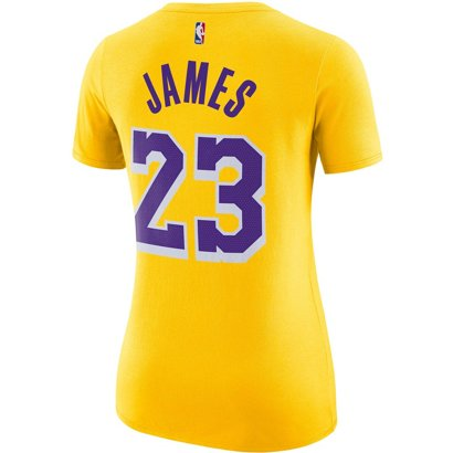 7967a0fcc14 Nike Women s Los Angeles Lakers LeBron James 23 Name And Number Dri-FIT T- shirt