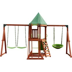 Paradise Peak Wooden Swing Set