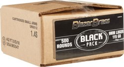Blazer Brass Black Pack 9mm Luger 115-Grain Centerfire Pistol Ammunition