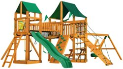 Pioneer Peak Cedar Swing Set with Sunbrella Canvas Canopy