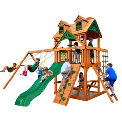 Chateau Cedar Swing Set with Natural Cedar and Malibu Roof