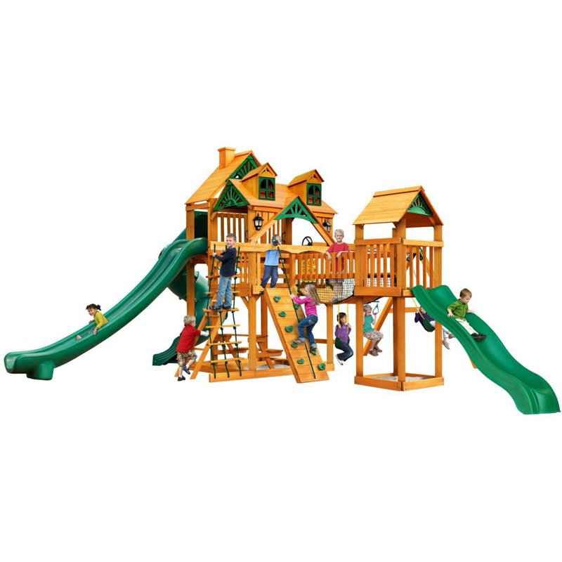 Gorilla Playsets Treasure Trove II Cedar Swing Set with Malibu Roof - Swing Sets/Bounce Houses at Academy Sports