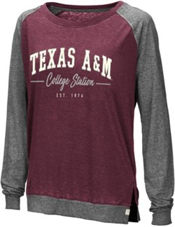 Colosseum Athletics Women's Texas A&M University Binding Raglan Long Sleeve T-shirt