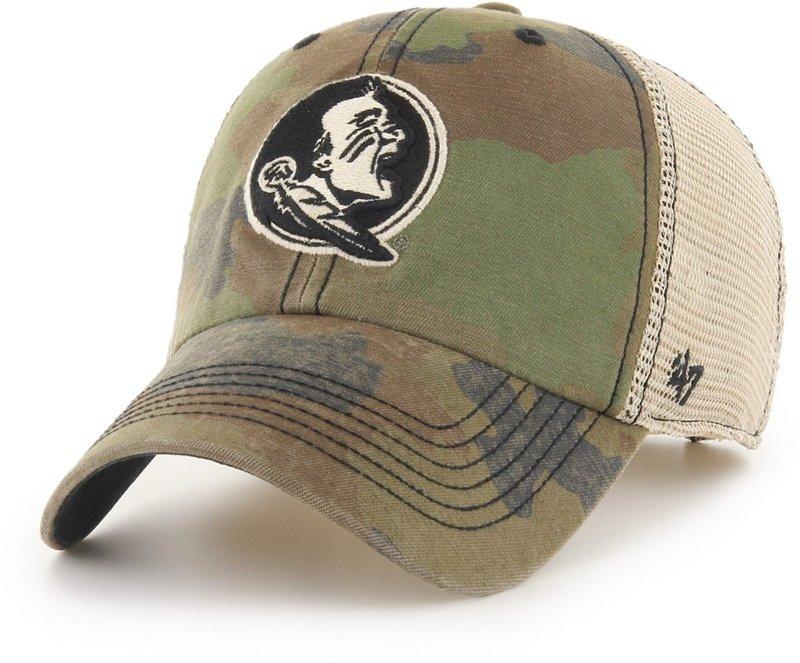 '47 Florida State University Burnett Meshback Ball Cap Frontline Green Camo/Dark Khaki/Khaki - NCAA Men's Caps at Academy Sports thumbnail