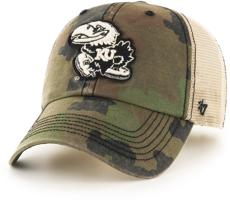 '47 University of Kansas Burnett Meshback Ball Cap (Frontline Green Camo/Dark Khaki/Khaki/Black, Size One Size) – NCAA Licensed Product, NCAA Men's Caps at A…