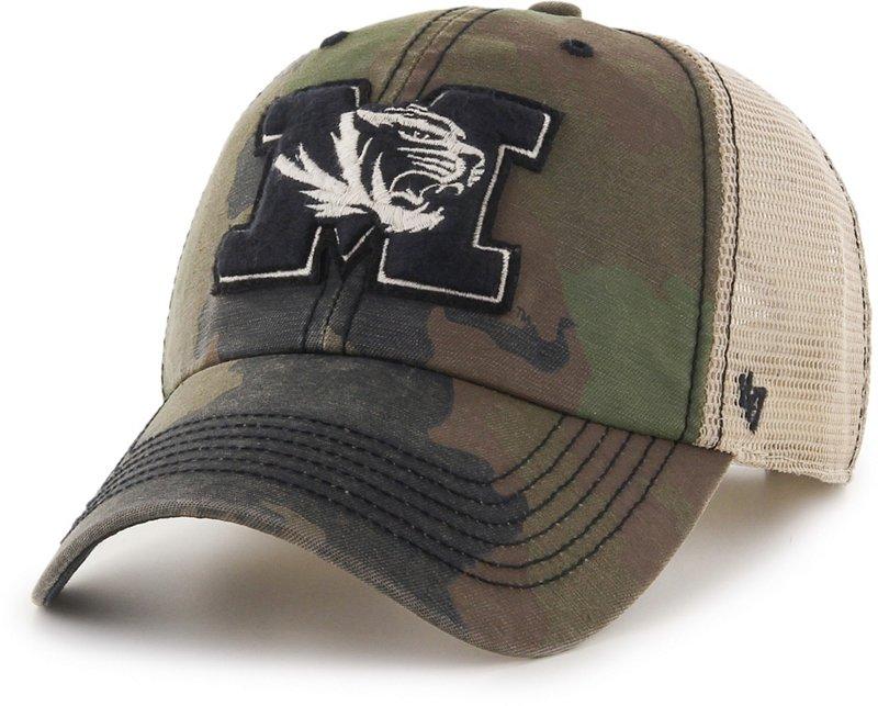 '47 University of Missouri Burnett Meshback Ball Cap (Frontline Green Camo/Dark Khaki/Khaki/Black, Size One Size) – NCAA Licensed Product, NCAA Men's Caps at…