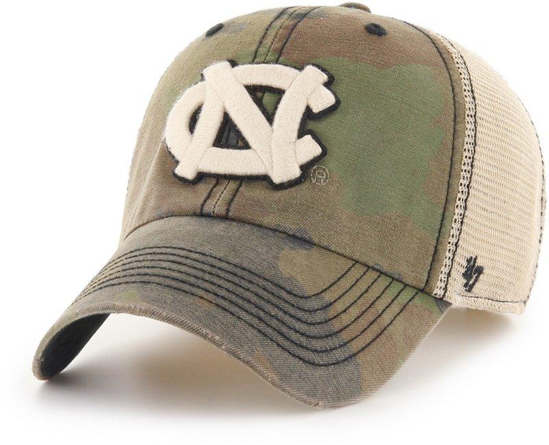 '47 University of North Carolina Burnett Meshback Ball Cap (Frontline Green Camo/Dark Khaki/Khaki/Black, Size One Size) – NCAA Licensed Product, NCAA Men's C…