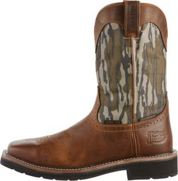 Justin Men's Stampede Trekker Bottomland Camo Waterproof Wellington Work Boots