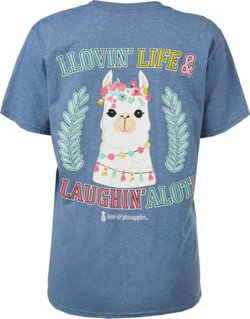 Love & Pineapples Women's Llovin' Life and Laughing A Lot T-shirt