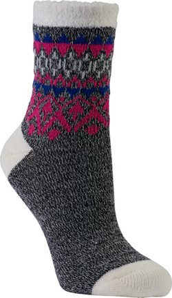 Magellan Outdoors Lodge Diamond Stripe Cuff Crew Socks