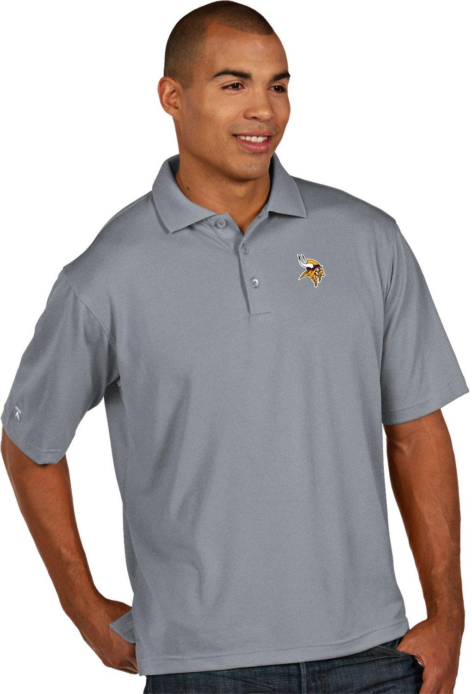 Antigua Mens Minnesota Vikings Pique Xtra Lite Polo Shirt Academy