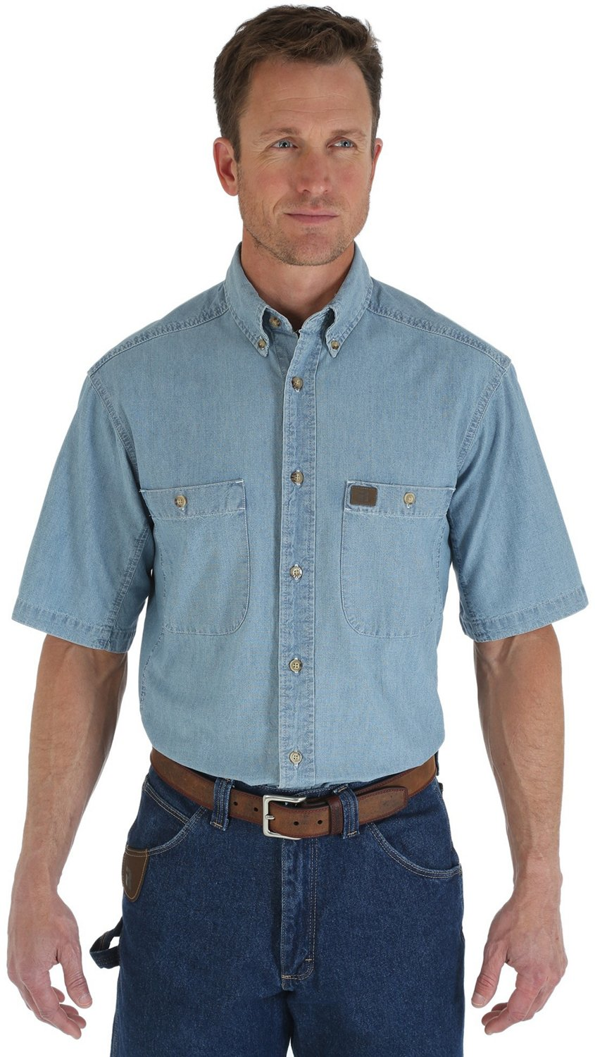 6e7d265df1d Riggs Workwear By Wrangler Mens Chambray Work Shirt – EDGE ...