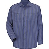 Red Kap Men's Long Sleeve Industrial Stripe Work Shirt