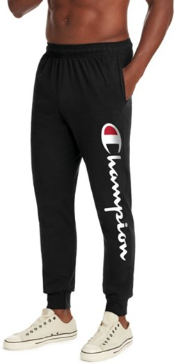 Champion Men's Vertical Logo Script Jersey Jogger Pants