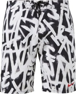 Men's Graffiti Print E-board Swim Shorts