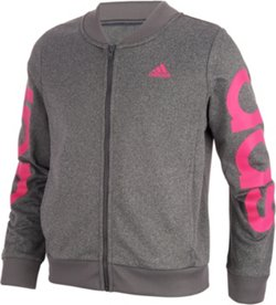 adidas Girls' Heather Cropped Adi Bomber Jacket