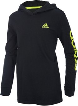 adidas Boys' Branded Linear Long Sleeve Hooded Pullover T-shirt