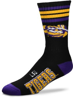 For Bare Feet Louisiana State University Black Deuce Crew Socks