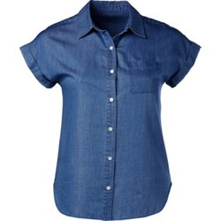 Women's Happy Camper Chambray Button Down Shirt