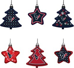 Forever Collectibles Houston Texans 6-Piece Shatterproof Tree and Star Ornament Set