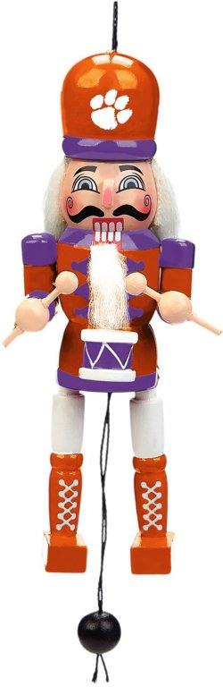 Forever Collectibles Clemson University Pull-String Wooden Nutcracker Ornament