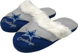 Forever Collectibles Women's Dallas Cowboys Colorblock Script Big Logo Slippers