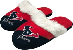Forever Collectibles Women's Houston Texans Colorblock Script Big Logo Slippers