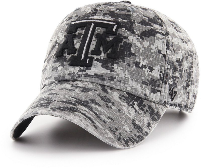 '47 Texas A&M University OHT Nilan Clean Up Cap (Gray Digital Camo/Black, Size One Size) - NCAA Licensed Product, NCAA Men's Caps at Academy Sports thumbnail