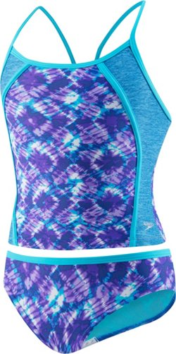 Speedo Girls' Rhythmic Tie Dye 2-Piece Tankini Swimsuit