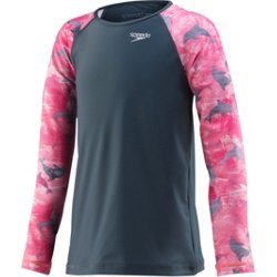 Girls' Printed Long Sleeve Rash Guard
