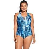 1d56cd50c208c Women's Plus Size Knotted Crisscross 1-Piece Swimsuit