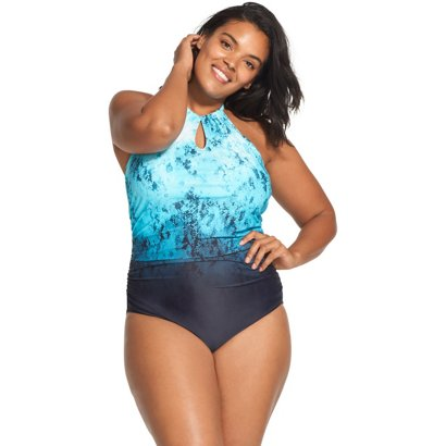 86cd94b24309c ... Plus Size Print Halter 1-piece Swimsuit. Women s One-Piece Swimsuits.  Hover Click to enlarge