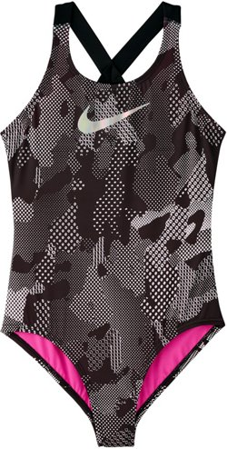 Nike Girls' Optic Camo Crossback One Piece Swimsuit