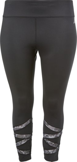 Women's Plus Size 7/8 Mesh Pieced Leggings