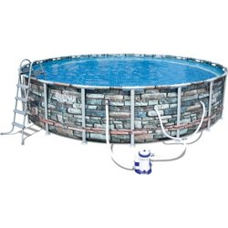 20ft x 48in Stone Print Power Steel Round Pool Set