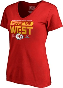 Kansas City Chiefs Women's 2018 AFC West Division Champions Fair Catch T-shirt