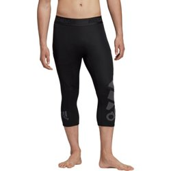 adidas Men's Alphaskin Badge of Sport 3/4 Length Compression Tights