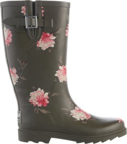 Women's Olive Floral Rubber Boots