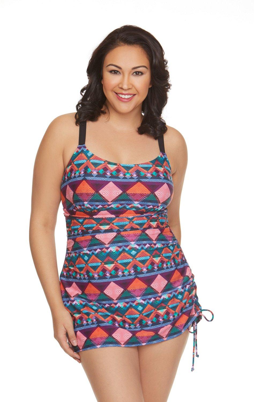 Sweet Escape Women\'s Plus Size Aztec Step Swim Dress