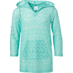 Girls' Crochet Long Sleeve Hooded Cover-Up