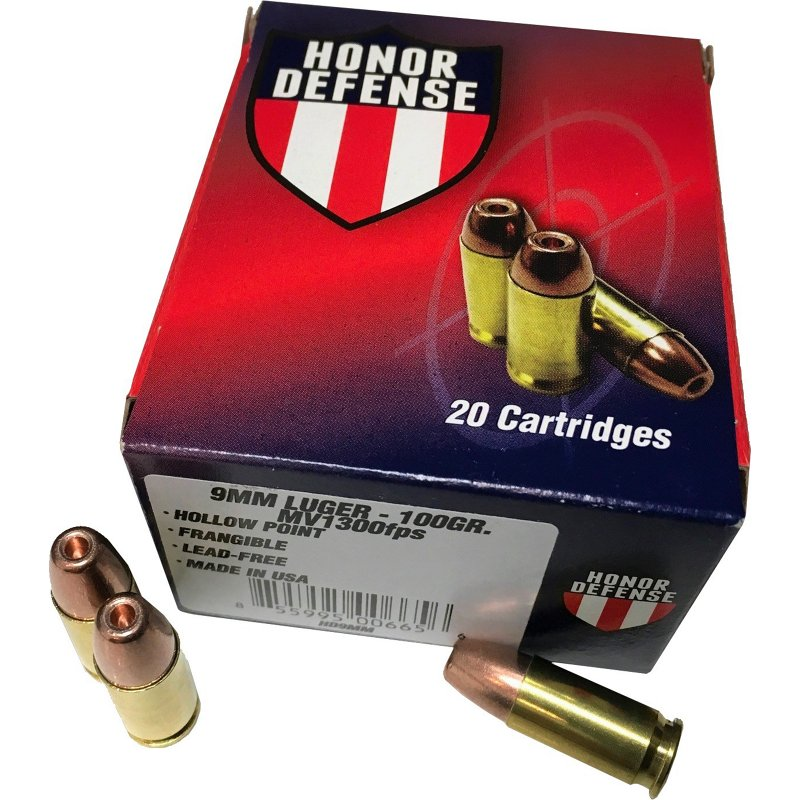 Honor Defense 9mm Luger 100-Grain Hollow-Point Frangible Pistol Ammunition - Pistol Shells at Academy Sports thumbnail