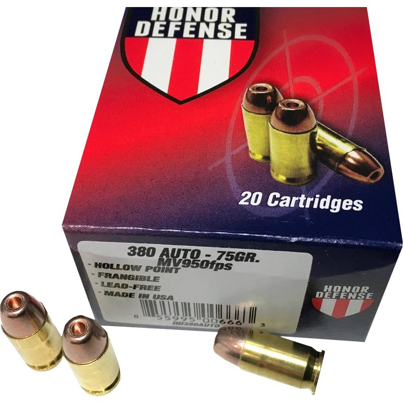 Honor Defense .380 ACP 75-Grain Hollow-Point Frangible Pistol Ammunition - Pistol Shells at Academy Sports thumbnail